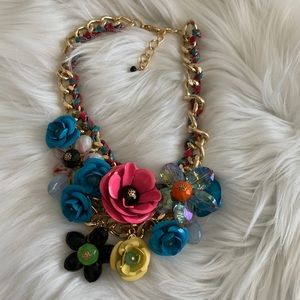 "NEW Colorful ""Lily"" flower statement necklace"